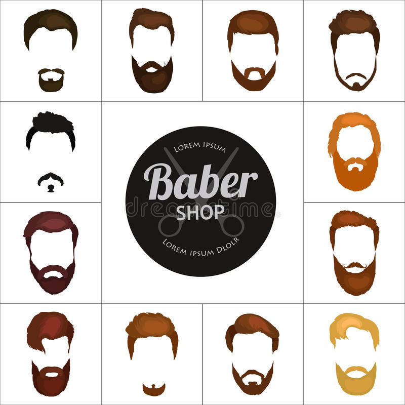 Download Men Cartoon Hairstyles With Beards And Mustache Background Vector Illustration Isolated Hipsters