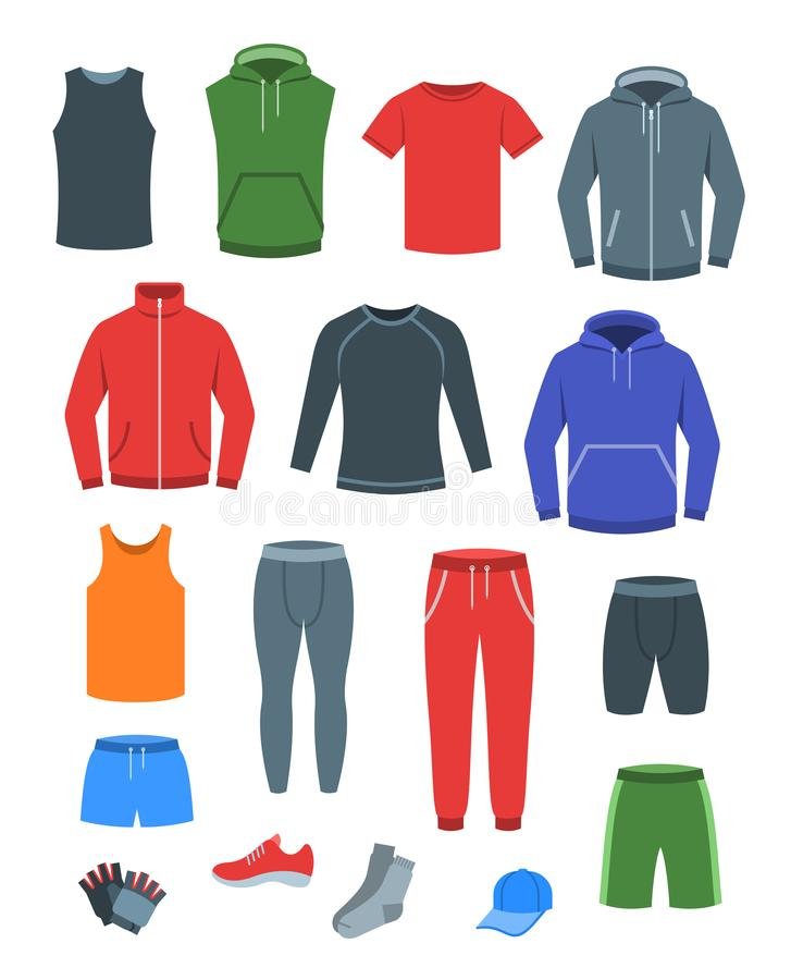 Men casual clothes for fitness training. Basic garments for gym workout. Vector flat illustration. Outfit for active modern man. vector illustration