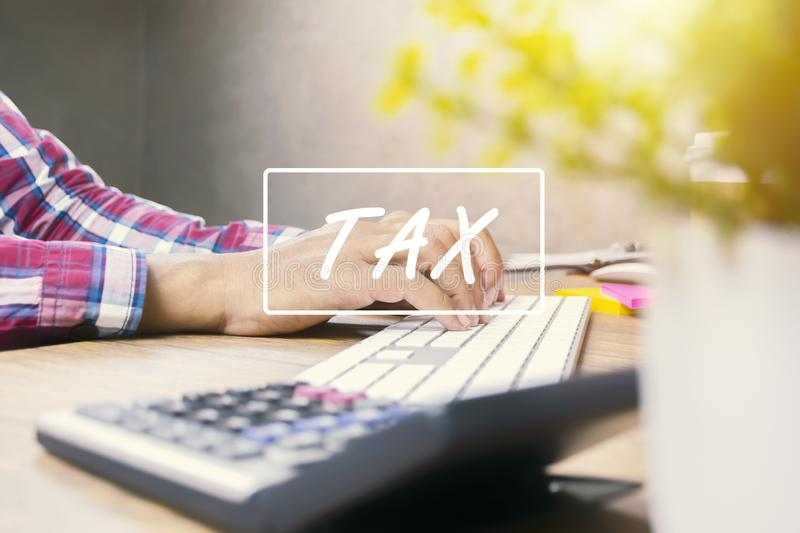 Men are checking document details. Is using a computer keyboard to find tax information. Tax payment must be paid in the specified period. Taxable time frame vector illustration