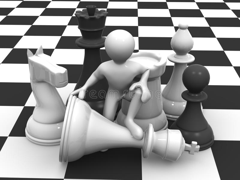 Men with chess royalty free illustration