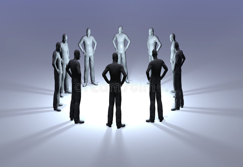 Men In A Circle Hands On Hips Royalty Free Stock Photography