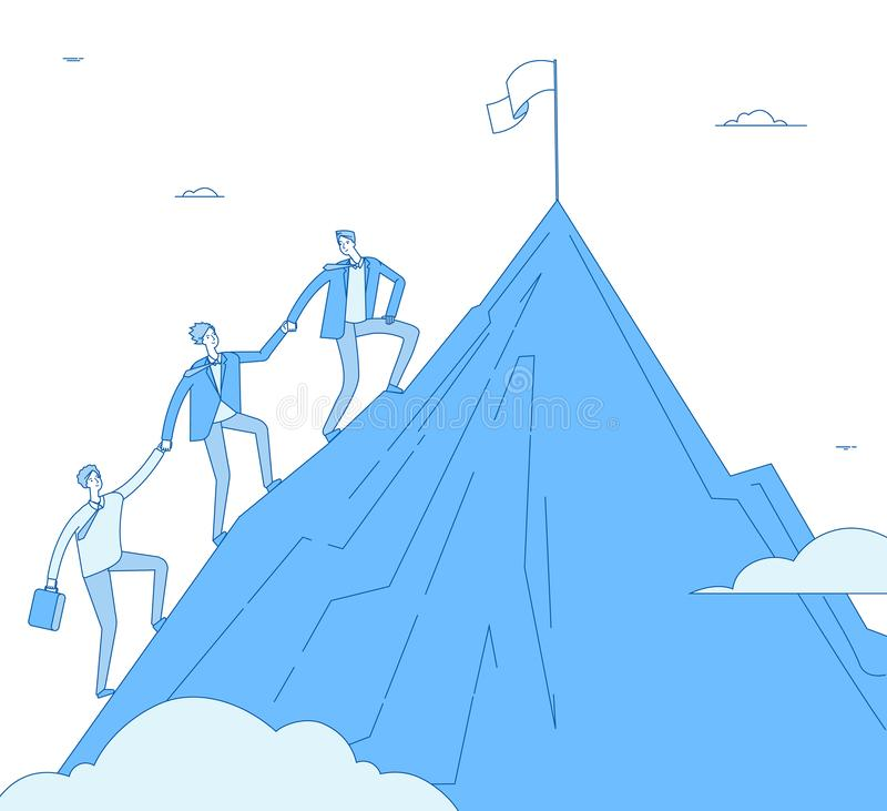 Men climb mountain. Success leader with team go up top successful winner. Business reaching, leadership achievement stock illustration