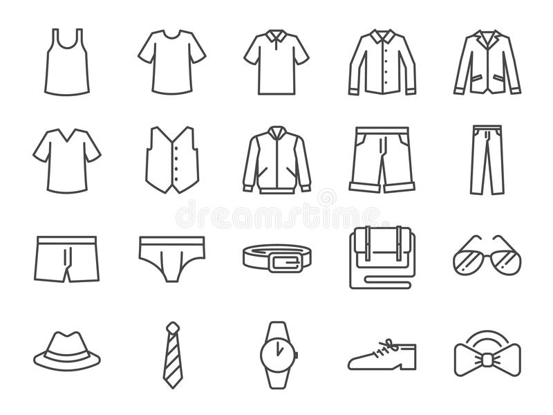 Men clothes icon set. Included the icons as shorts, workwear, fashion, jean, shirt, pants, accessories and more. royalty free illustration