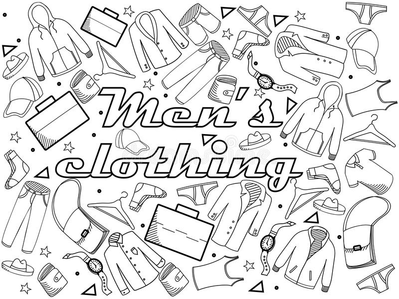 Download Men Clothing Coloring Book Vector Illustration Stock