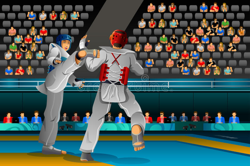 Men Competing in a Taekwondo Competition royalty free illustration