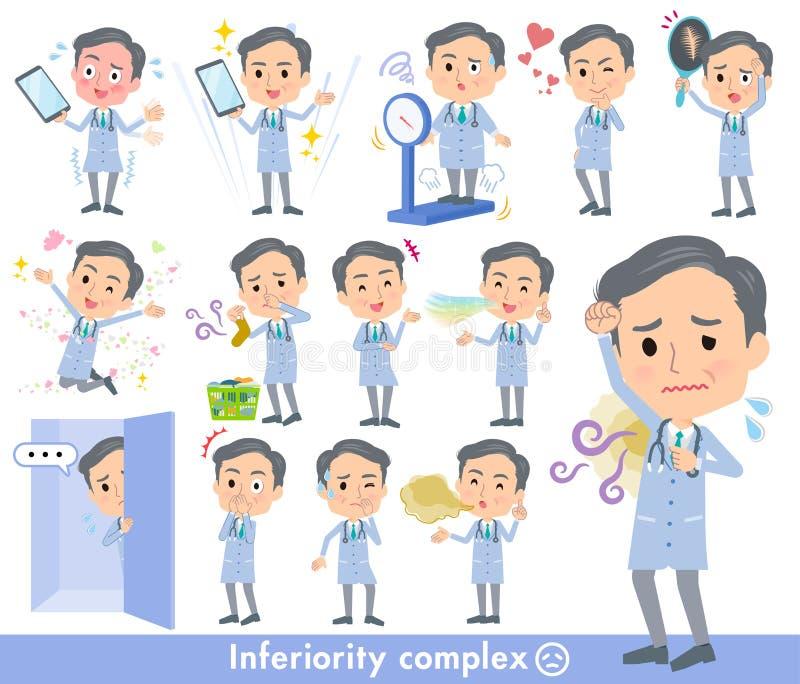 Men_complex velho do doutor ilustração royalty free