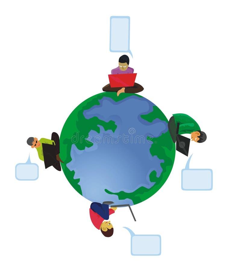 Men computing around the globe vector illustration