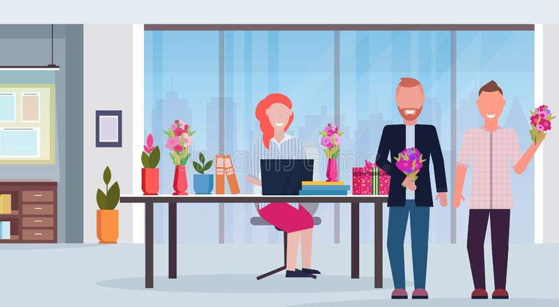 Men congratulating businesswoman sitting workplace gifts and flowers happy womens 8 march day holiday concept modern stock illustration