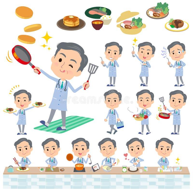 Men_cooking velho do doutor ilustração stock