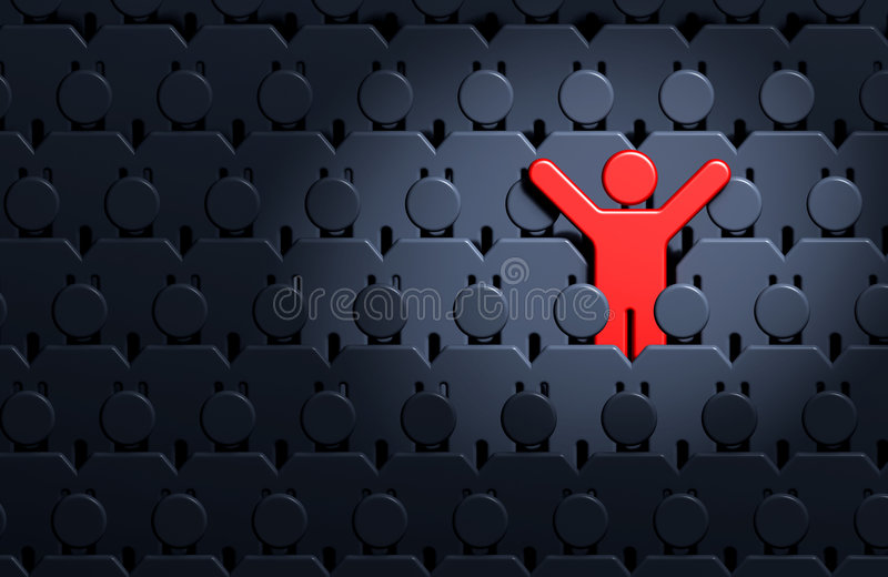 Men among crowd of people vector illustration
