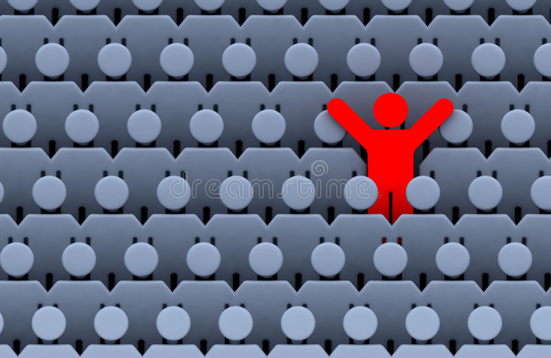 Men among crowd of people. The one red standing men among large crowd grey people