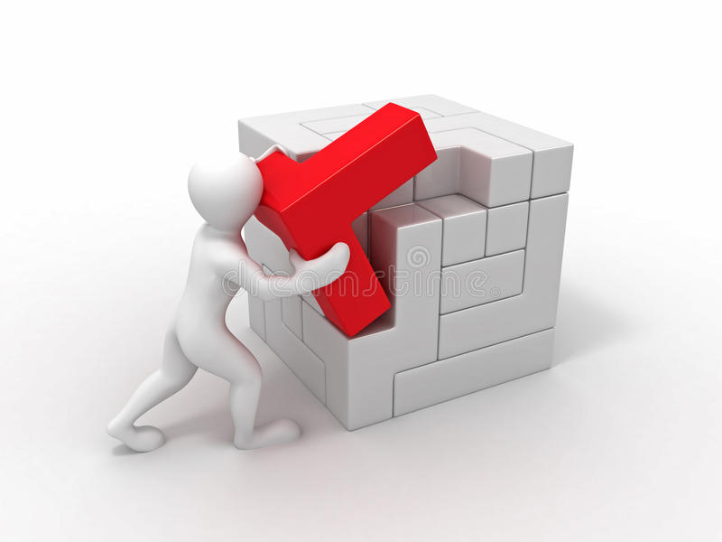 Download Men With A Cube Built From Blocks. Puzzle Royalty Free Stock Photos - Image: 14628018