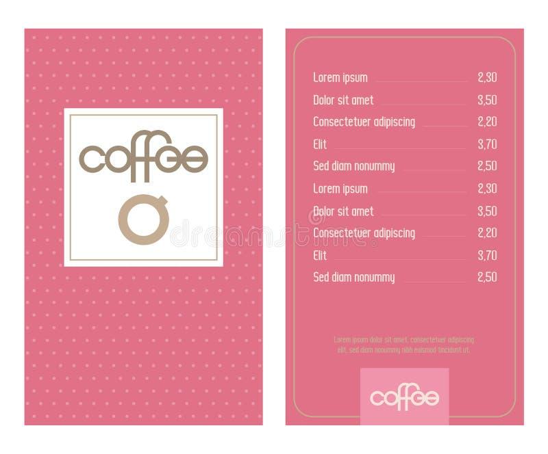 Men? del caf? con las letras modernas originales y las tazas de caf? estilizadas Rosa, fondo punteado retro ilustración del vector