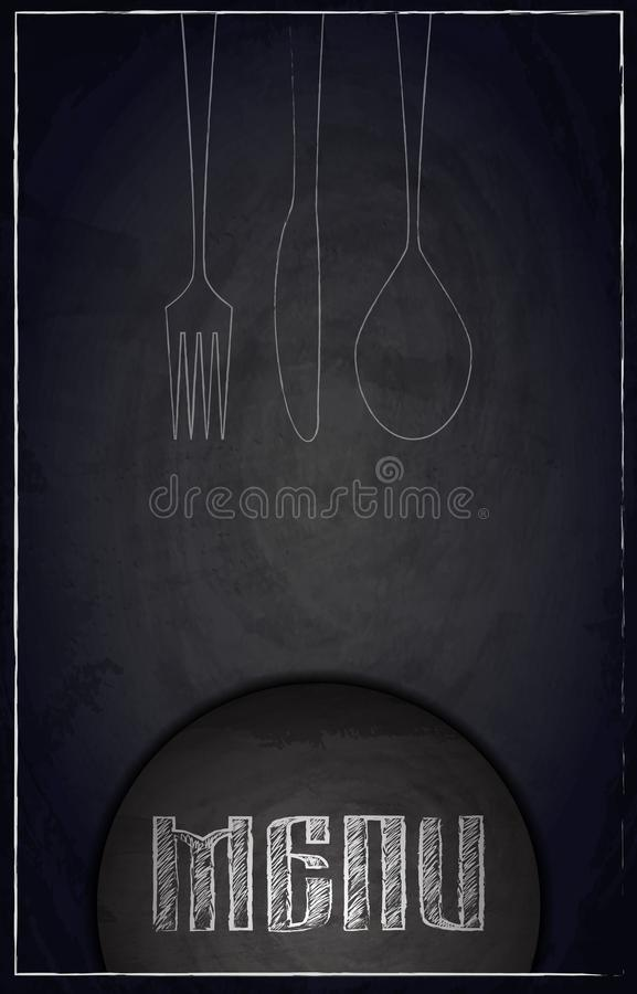 Men? del restaurante en fondo negro de la pizarra libre illustration