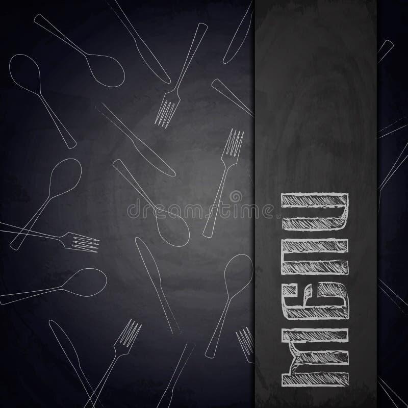 Men? del restaurante en fondo negro de la pizarra ilustración del vector
