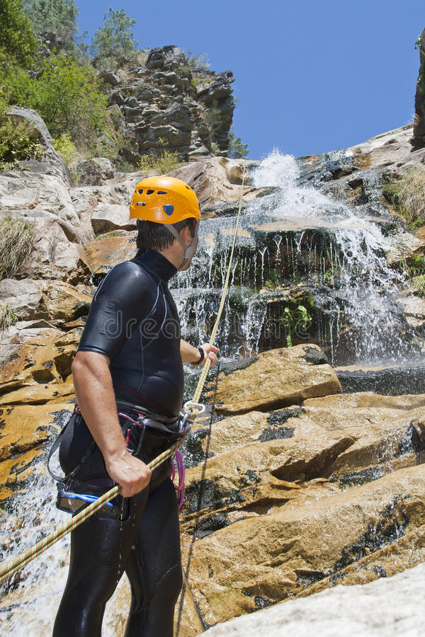 Download Men Descending Waterfall Royalty Free Stock Photos - Image: 21559928