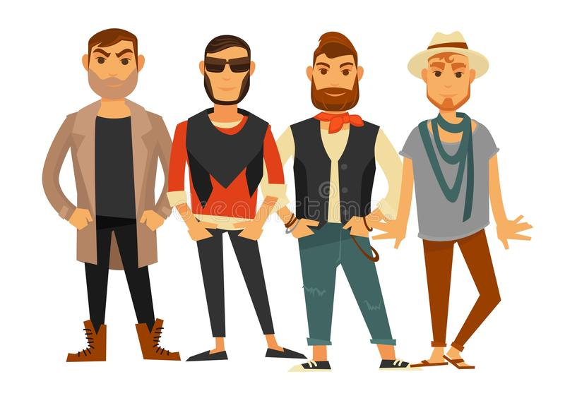 Men different clothes man fashion models casual clothing vector flat isolated icons stock illustration