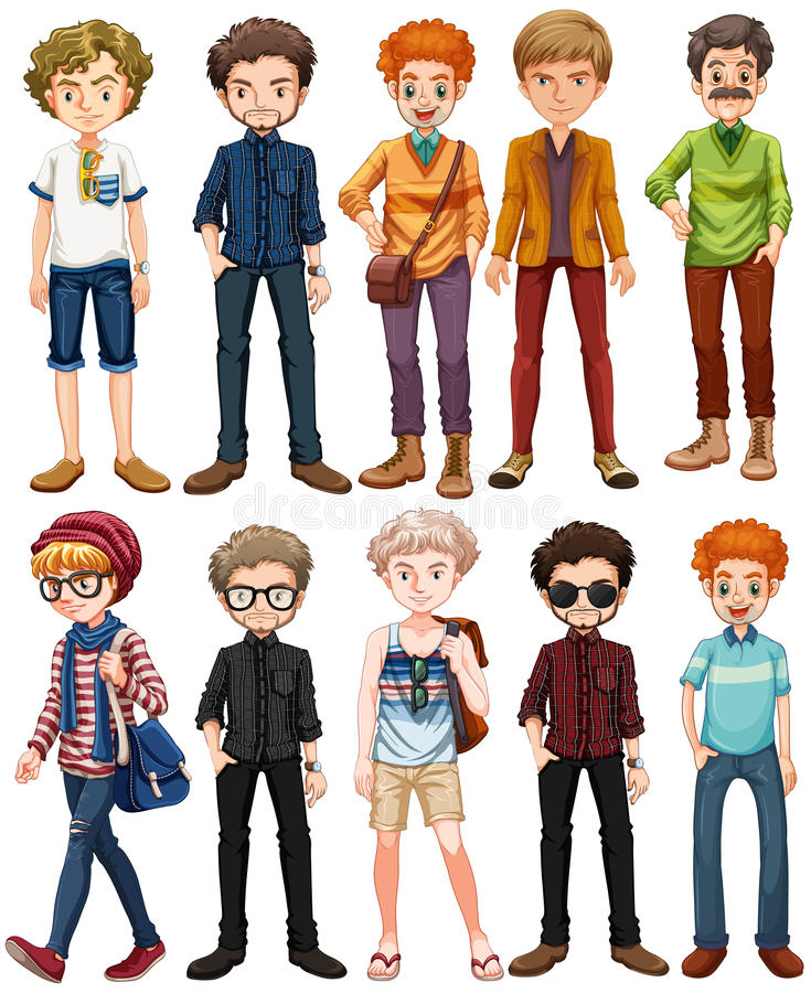 Men in different outfit. Illustration stock illustration