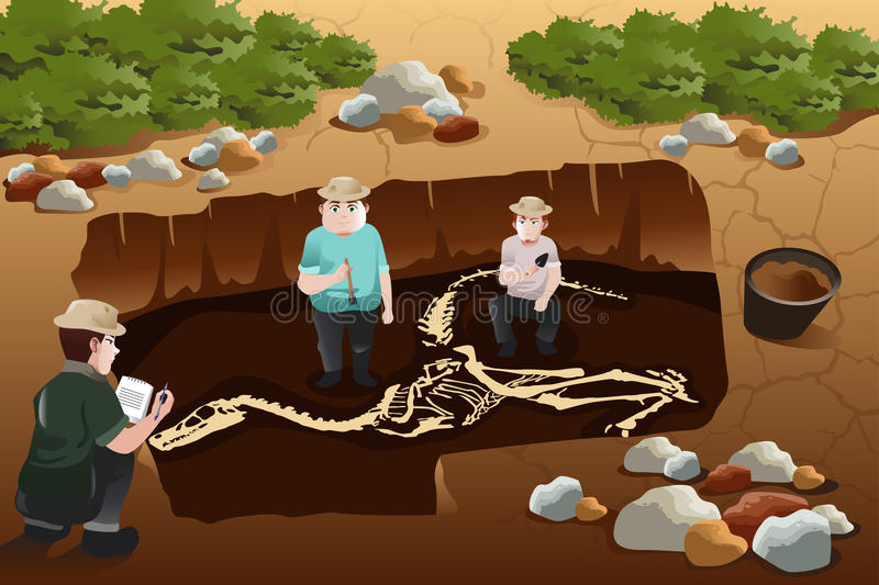 Men discovering a dinosaurs fossil stock illustration