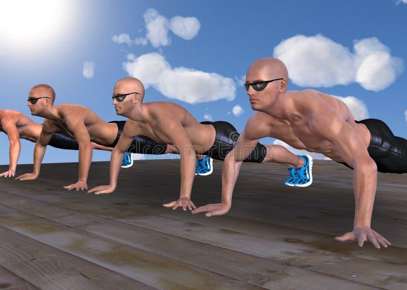 Men Doing Push Ups Strength Training Illustration royalty free stock photos