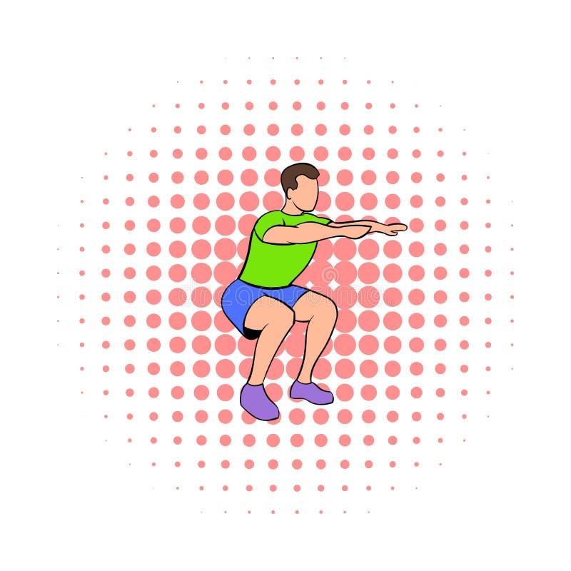 Men doing squats icon, comics style royalty free illustration