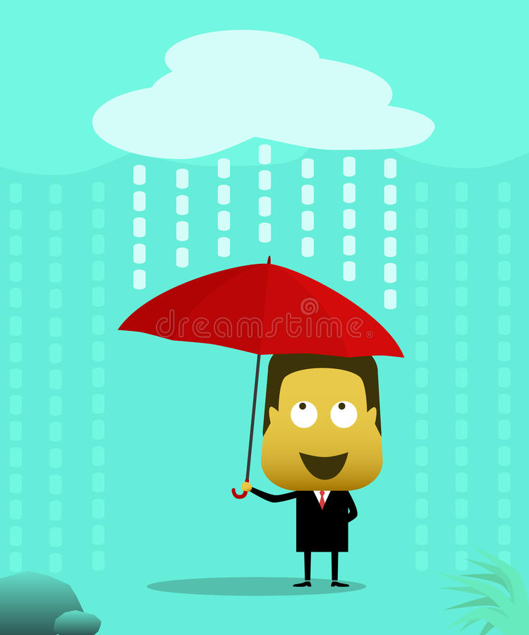 Men dressed in suits using an umbrella when it rains royalty free illustration