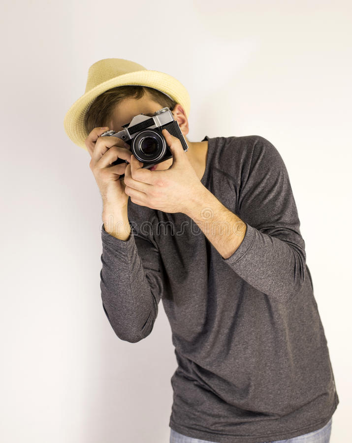 Men with dslr camera royalty free stock photo