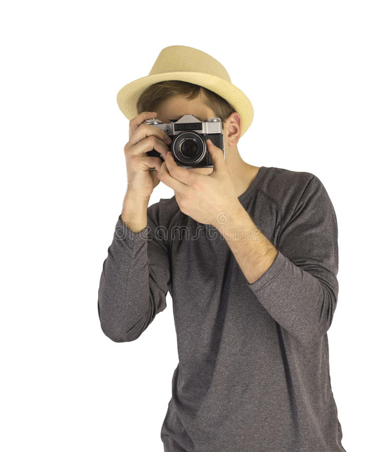 Men with dslr camera royalty free stock photography