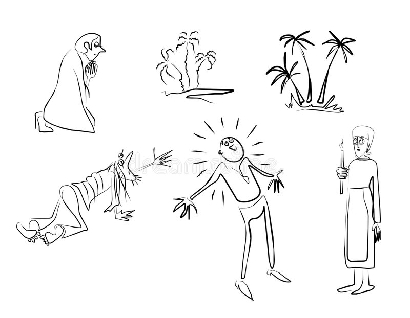 Men-emosion. Sketches on a theme of belief, hope, religion, a pray royalty free illustration