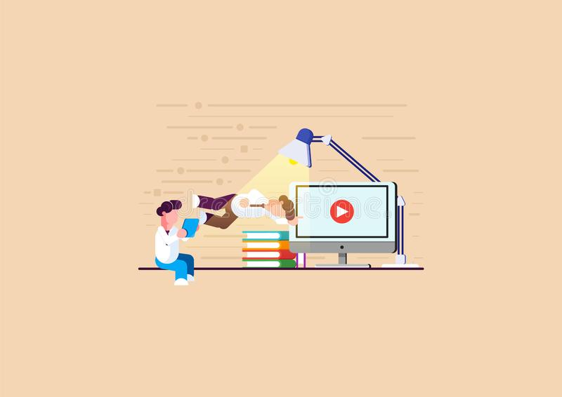 Men is engaged in online learning. Men is engaged in analytics. Holding a tablet. Modern vector illustration. - Vector. Illustration royalty free stock photography