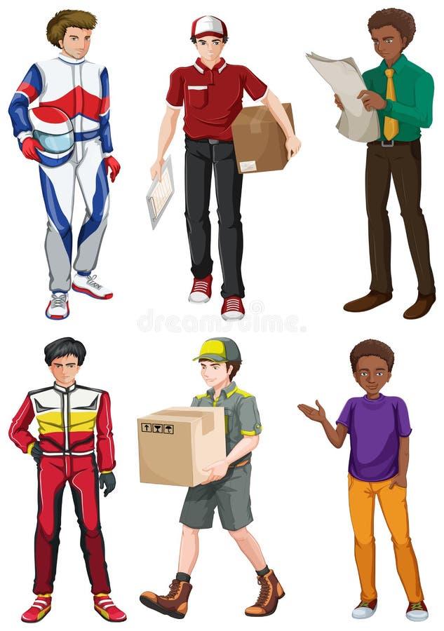 Men engaging in different activities stock illustration