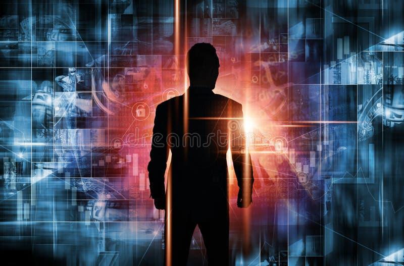 Men Entering New Technologies royalty free illustration