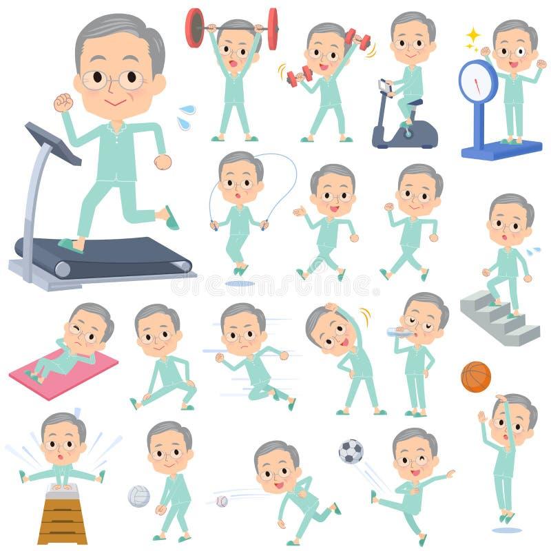 Men_exercise velho paciente ilustração do vetor