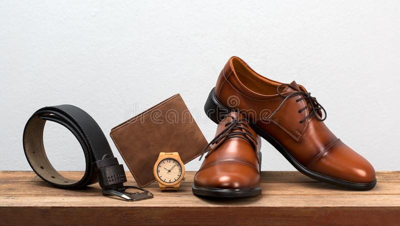 Men fashion belt and fotwear leather men shoes. Men fashion belt and fotwear leather men shoes vintage style stock photo