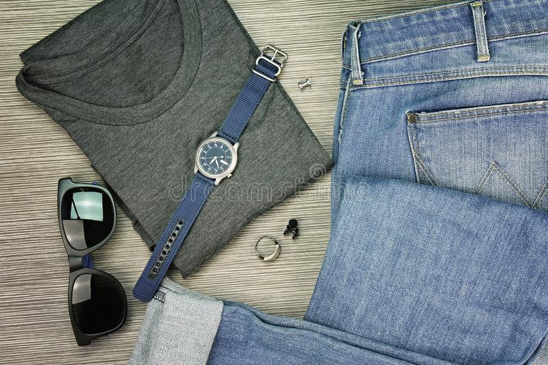 Men Fashion, Casual outfits, Set of clothes and various accessories. royalty free stock images