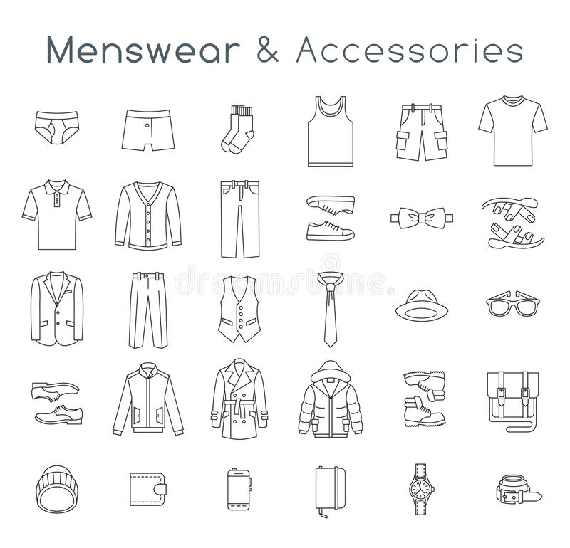 Men fashion clothes and accessories flat line vector icons vector illustration