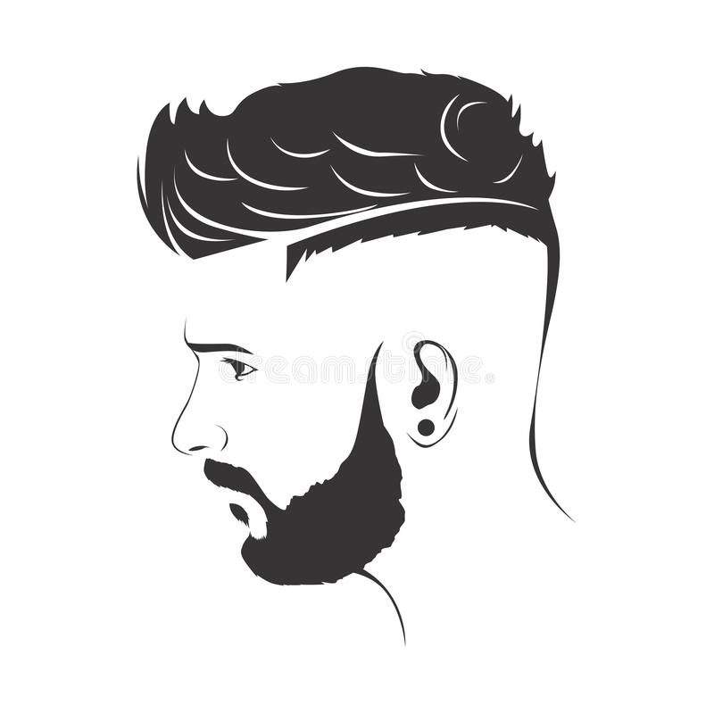 MEN FASHION HAIRSTYLE HAIRCUT WITH BEARD. ILLUSTRATION stock illustration