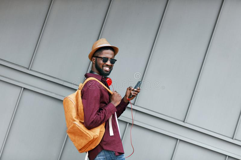 Men Fashion. Man With Phone And Headphones On Street stock photography
