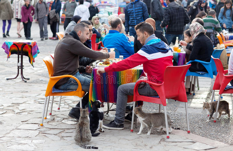 Men feeding cats on the street. CHEFCHAOUEN, MOROCCO - JANUARY 1, 2014: Men feeding cats on the street stock images