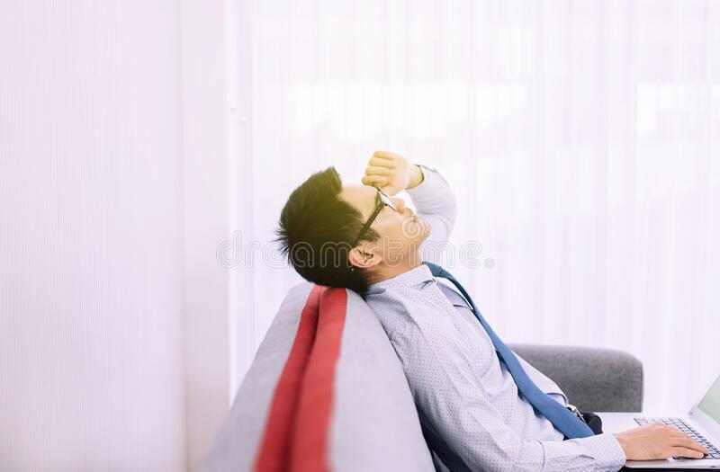 Man feeling so stressed and tired frustrated failure exhausted,Unemployed concept stock image