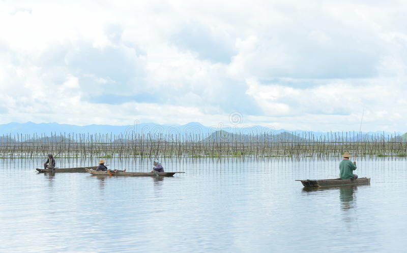 Men fishing in freshwater lake stock photos