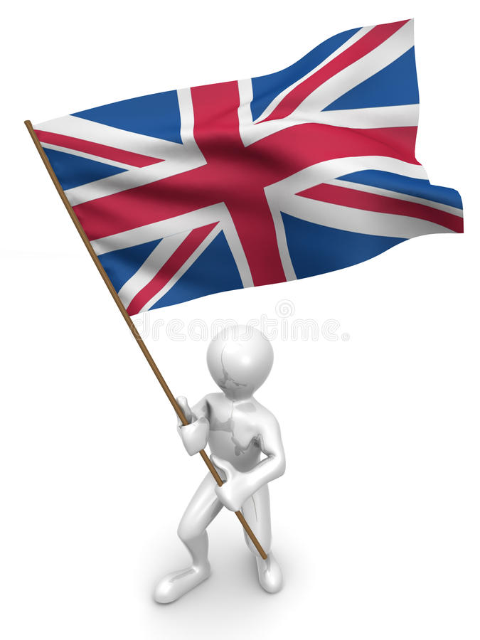Men With Flag. Great Britain Stock Image