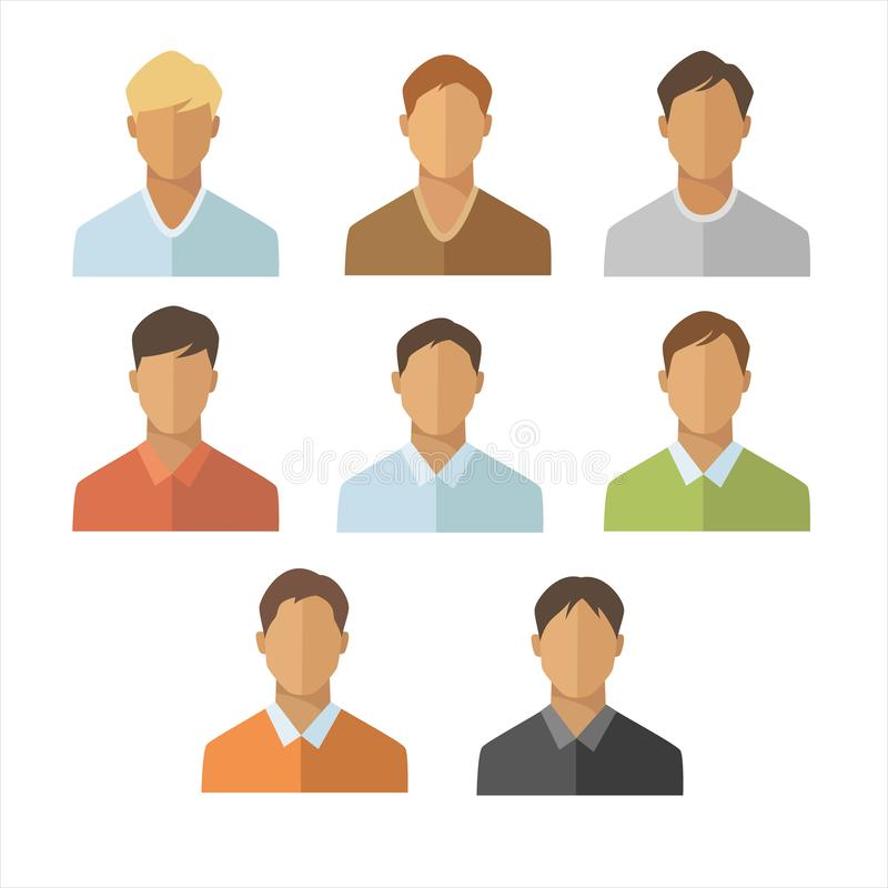Men flat icons set. Young man portrait collection. On white background royalty free illustration