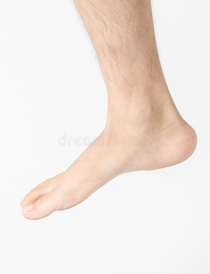 Men foot isolated on white background royalty free stock photography
