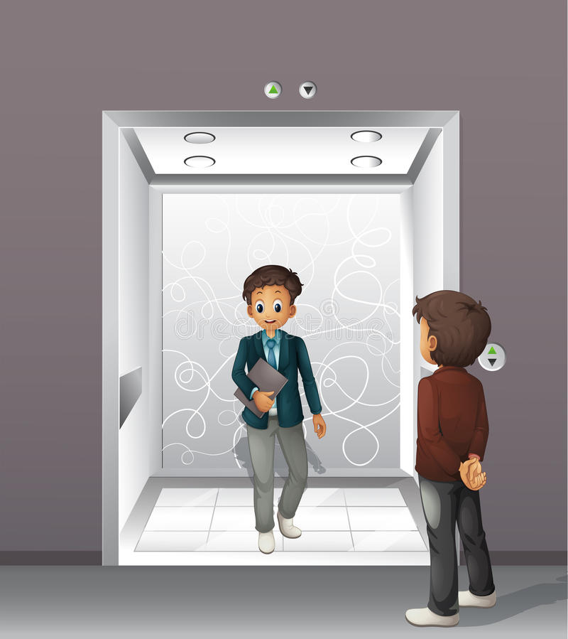 Men getting on and off the elevator. Illustration royalty free illustration