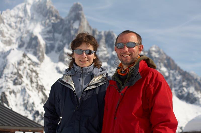 Men and girl in glasses stock image