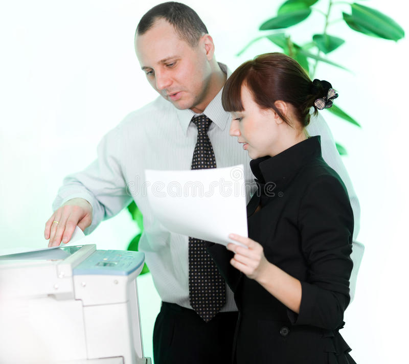 Men and girl with paper stock photo