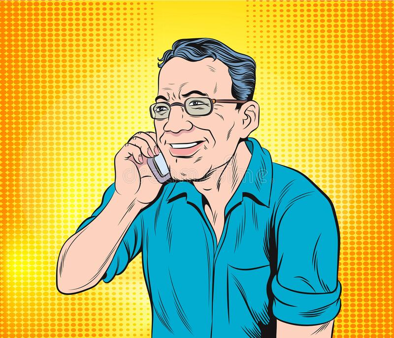 Men are in a good mood with talking on a mobile phone.Pop art vector illustration drawing. stock photos