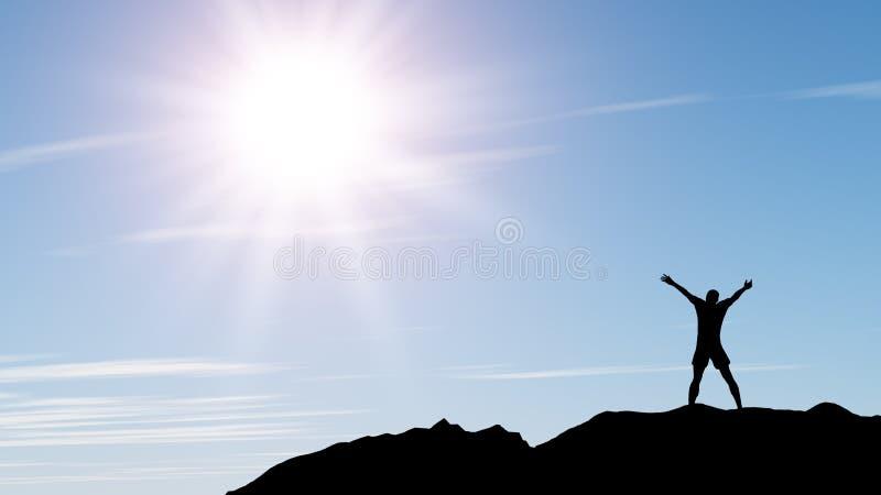 Men greeting sun stock photo