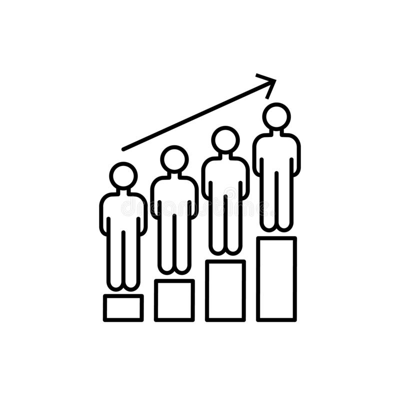 Men growth crowd icon. Element of overpopulation thin line icon. Men growth crowd icon. Element of overpopulation icon on white background vector illustration